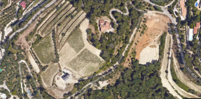 Aerial view of new road and vineyards at Chateau de Bellet
