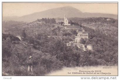 Old postcard showing chapel of Chateau de Bellet